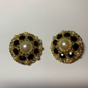 Gold Tone Clip On Earrings Pearl and Rhinestones